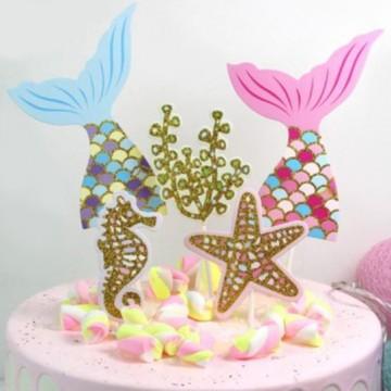 Glittery Mermaids Cake Topper Set
