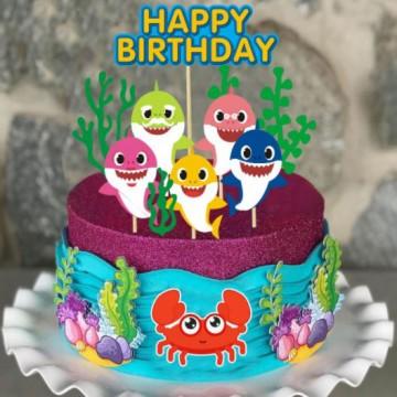 Happy Birthday Baby Shark Cake Topper Set