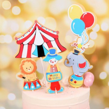 Happy Birthday Carnival Cake Topper Set