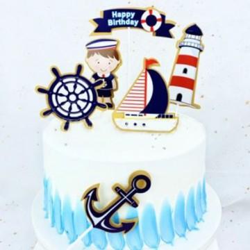 Happy Birthday Sailor Cake Topper Set