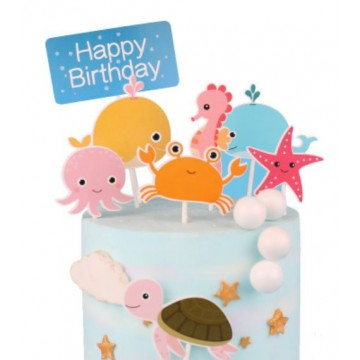 Happy Birthday Undersea Friends Cake Topper Set