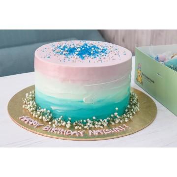 Rustic Aqua Violet Cake